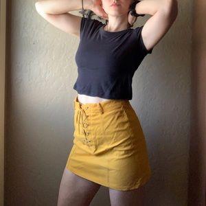 Yellow lace up mini skirt